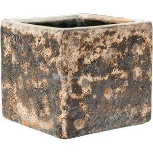 Baq Lava Cube M 20x20x20 cm Relic Rust Metal bloempot binnen