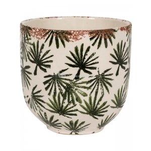 Bowl Grenada Dark Green S 16x15 cm donkergroene palm ronde bloempot voor binnen