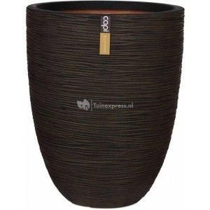 Capi Nature Rib NL vase elegant low L 44x44x56cm Bruin bloempot
