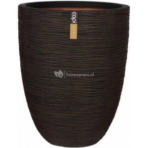 Capi Nature Rib NL vase elegant low M 35x35x47cm Bruin bloempot