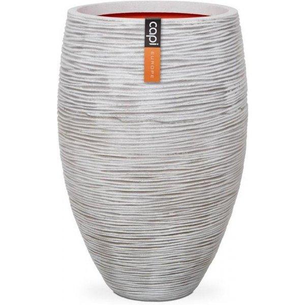 Capi Nature Rib NL vase elegant luxe L 45x45x72cm Ivoor bloempot