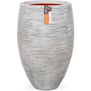 Capi Nature Rib NL vase elegant luxe M 39x39x60cm Ivoor bloempot