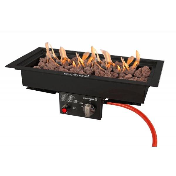 Easy Fires inbouwbrander rechthoek zwart 50x25cm.
