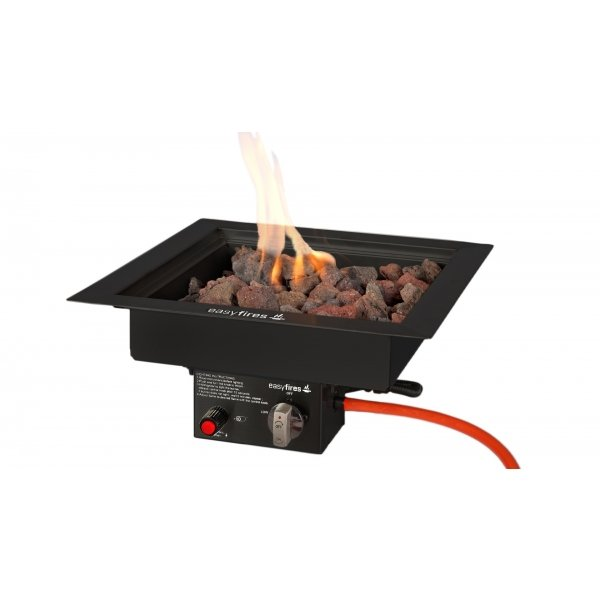 Easy Fires inbouwbrander vierkant zwart 40x40cm.