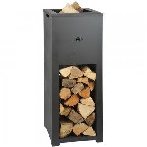 Esschert Design - Vuurschaal met houtopslag vierkant