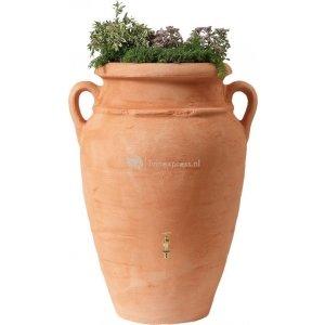 Garantia Amphore regenton met bloembak 250 liter terra