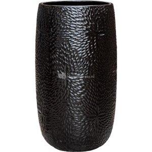 Hoge Pot Marly Black ronde zwarte bloempot voor binnen en buiten 36x63 cm