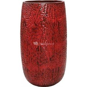 Hoge Pot Marly Deep Red ronde rode bloempot voor binnen en buiten 36x63 cm