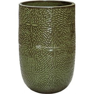 Hoge Pot Marly Green ronde groene bloempot voor binnen en buiten 47x70 cm