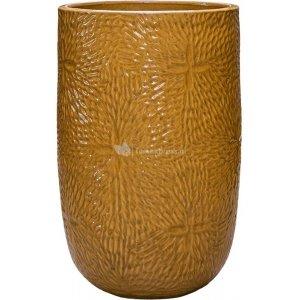 Hoge Pot Marly Honey ronde gele bloempot voor binnen en buiten 47x70 cm