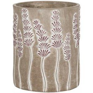 Hoge pot Sault Purple17x21 cm grijze ronde bloempot voor binnen
