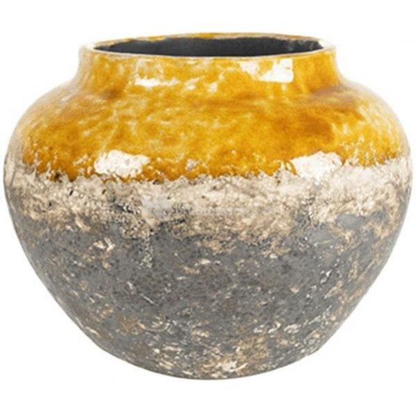 Jar Lindy Ochre Okergele ronde lage vaas voor binnen 28 cm