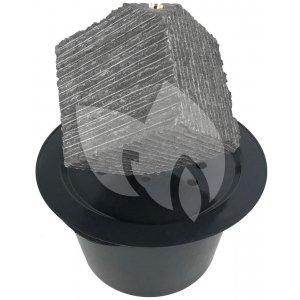 Kubus waterornament natuursteen LED 38 cm doorsnede