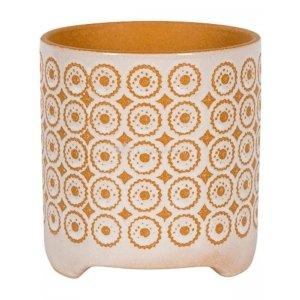 Pot Byron Orange 16x17 cm oranje met witte ronde bloempot voor binnen