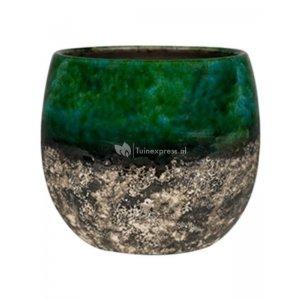 Pot Lindy Green Black donkergroene ronde bloempot voor binnen 16 cm