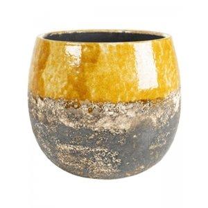 Pot Lindy Ochre Okergele ronde bloempot voor binnen 19 cm