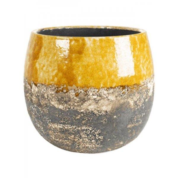 Pot Lindy Ochre Okergele ronde bloempot voor binnen 23 cm