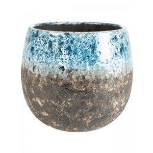 Pot Lindy Sky Blue blauwe ronde bloempot voor binnen 19 cm