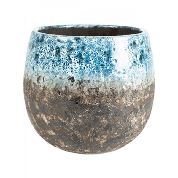 Pot Lindy Sky Blue blauwe ronde bloempot voor binnen 23 cm