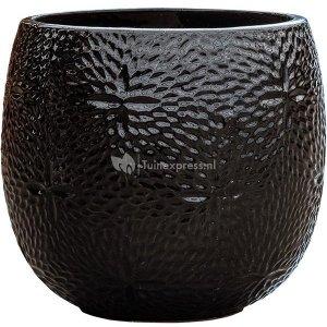 Pot Marly Black ronde zwarte bloempot voor binnen en buiten 30x28 cm