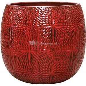 Pot Marly Deep Red ronde rode bloempot voor binnen en buiten 41x38 cm