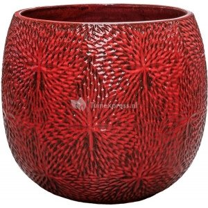 Pot Marly Deep Red ronde rode bloempot voor binnen en buiten 54x48 cm