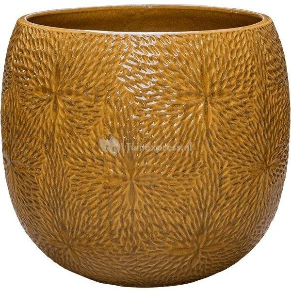 Pot Marly Honey ronde gele bloempot voor binnen en buiten 54x48 cm