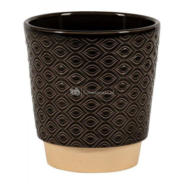 Pot Odense Eye Black M 15x15 cm zwarte ronde bloempot voor binnen