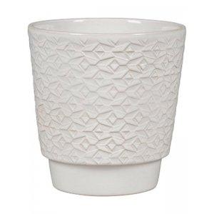 Pot Odense Mosaik White M 15x15 cm witte ronde bloempot voor binnen