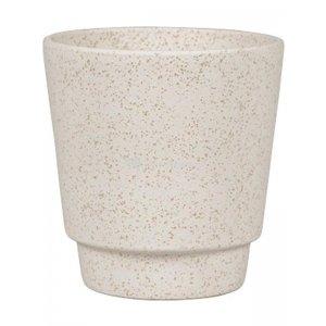 Pot Odense Plain Sand White S 13x14 cm witte ronde bloempot voor binnen