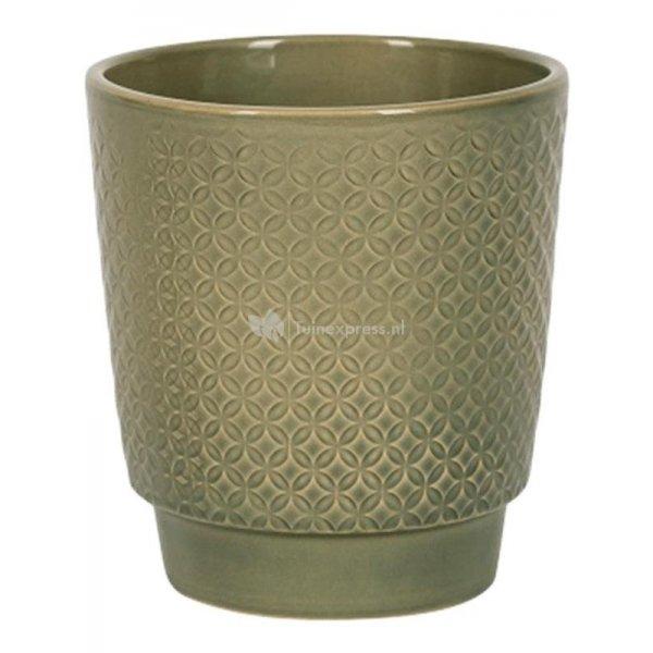 Pot Odense Star Olive Green M 15x15 cm olijfgroene ronde bloempot voor binnen