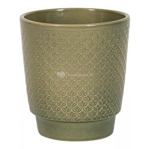 Pot Odense Star Olive Green S 13x14 cm olijfgroene ronde bloempot voor binnen
