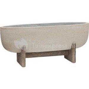 Pottery Pots Shelby M beige washed 75 cm ovale bloempot op poten