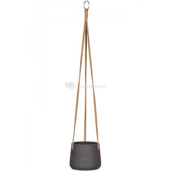 Pottery pots Rough Eco-line S 14x11 cm Patt Black Washed hangpot