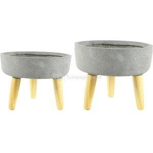 Ter Steege Bowl bloempot op poten grijs set van 2 stuks