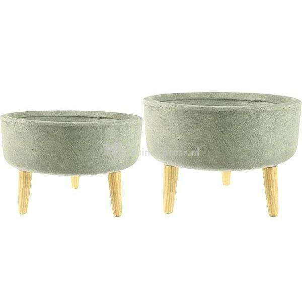 Ter Steege Bowl bloempot op poten groen set van 2 stuks