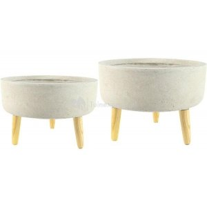 Ter Steege Bowl bloempot op poten zand set van 2 stuks