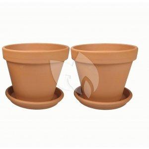 Terracotta bloempotten 11 cm met schotel duo set