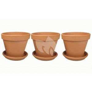 Terracotta bloempotten 15 cm met schotel trio set