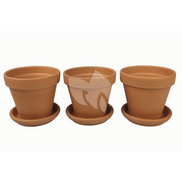 Terracotta bloempotten 23 cm met schotel trio set