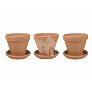 Terracotta bloempotten 30 cm met schotel trio set
