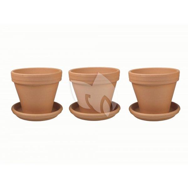 Terracotta bloempotten 31 cm met schotel trio set