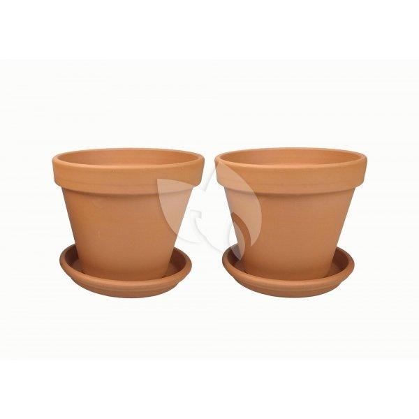 Terracotta bloempotten 33 cm met schotel duo set