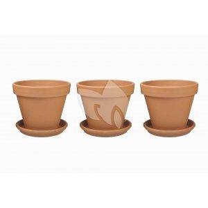Terracotta bloempotten 35 cm met schotel trio set
