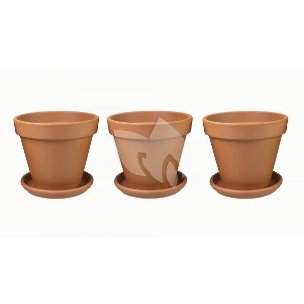 Terracotta bloempotten 50 cm met schotel trio set