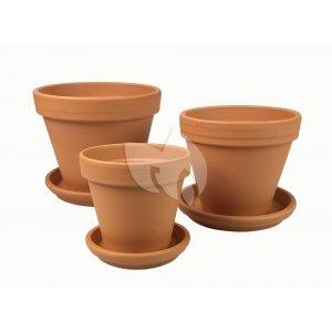 Terracotta bloempotten met schotel Trio L mix set 25–28–31 cm