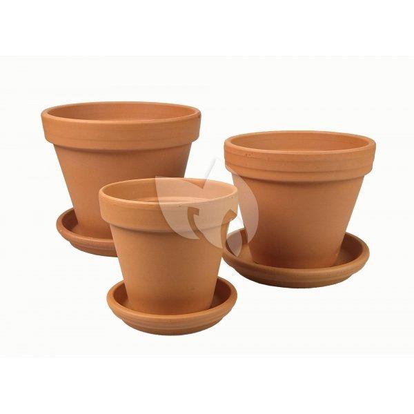 Terracotta bloempotten met schotel Trio M mix set 21–25–28 cm