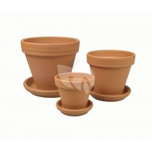 Terracotta bloempotten met schotel Trio S mix set 15–21–25 cm