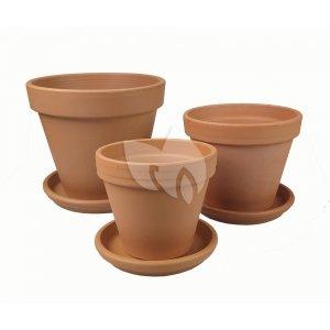 Terracotta bloempotten met schotel Trio XL mix set 28–31–35 cm