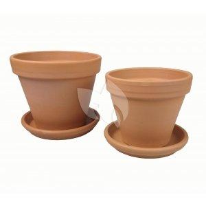 Terracotta bloempotten met schotel duo L mix set 28–31 cm